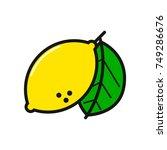 lemon line icon. vector simple... | Shutterstock .eps vector #749286676