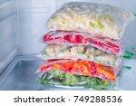 frozen vegetables in bags in...   Shutterstock . vector #749288536