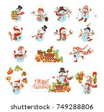 vector set of cute cartoon... | Shutterstock .eps vector #749288806