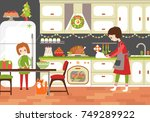 mom and daughter cooking... | Shutterstock .eps vector #749289922