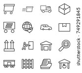 thin line icon set   delivery ...   Shutterstock .eps vector #749291845