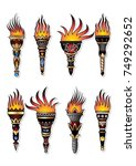 vector set of ancient torches.... | Shutterstock .eps vector #749292652