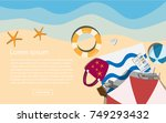 top view vector beach with... | Shutterstock .eps vector #749293432