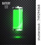 charged battery. low battery.... | Shutterstock .eps vector #749294368
