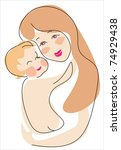 euro mama and child   happiness ... | Shutterstock .eps vector #74929438