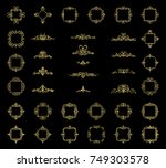 gold vintage decor elements and ... | Shutterstock . vector #749303578