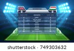 soccer scoreboard and football... | Shutterstock .eps vector #749303632