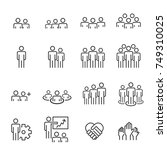 people icons line work group... | Shutterstock .eps vector #749310025