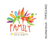 abstract family logo with flat... | Shutterstock .eps vector #749311462