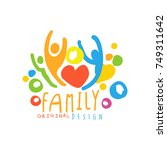 multicolored happy family logo... | Shutterstock .eps vector #749311642