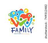colorful happy family logo with ... | Shutterstock .eps vector #749312482
