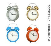 set of retro style alarm clocks ... | Shutterstock . vector #749316202
