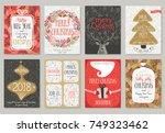 christmas hand drawn card set.... | Shutterstock .eps vector #749323462