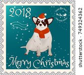 postage stamp with a chihuahua ... | Shutterstock .eps vector #749324362