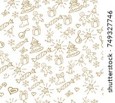 christmas background hand drawn.... | Shutterstock .eps vector #749327746