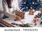 enjoy in christmas preparation | Shutterstock . vector #749332192