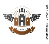 ancient bastion emblem.... | Shutterstock .eps vector #749343136