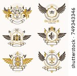 vintage decorative heraldic... | Shutterstock .eps vector #749343346