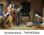 nativity scene of christ with... | Shutterstock . vector #749345566