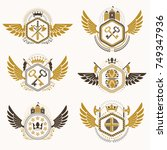 heraldic emblems with wings... | Shutterstock .eps vector #749347936