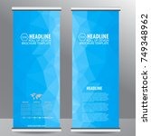 blue roll up business brochure... | Shutterstock .eps vector #749348962