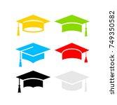 six color graduation hats... | Shutterstock .eps vector #749350582