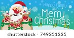 santa claus and reindeer family ... | Shutterstock .eps vector #749351335