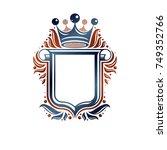 blank heraldic design with copy ... | Shutterstock .eps vector #749352766