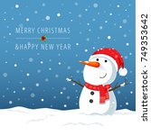 vector illustration of snowman... | Shutterstock .eps vector #749353642