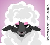funny sheep. cute avatar of...   Shutterstock .eps vector #749358826