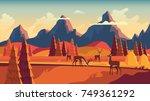 flat vector landscape... | Shutterstock .eps vector #749361292