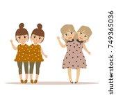 portrait of siamese twins... | Shutterstock .eps vector #749365036