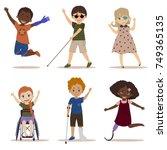 special needs children. happy... | Shutterstock .eps vector #749365135