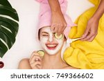 facial cleansing  cosmetology ... | Shutterstock . vector #749366602