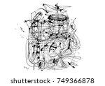 abstract ink lines grunge... | Shutterstock . vector #749366878