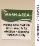 sign of a wash area to inform... | Shutterstock . vector #749369086
