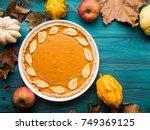 autumn fall still life... | Shutterstock . vector #749369125