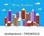 christmas winter landscape flat ... | Shutterstock .eps vector #749369212