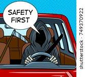 grim reaper drive car pop art... | Shutterstock .eps vector #749370922