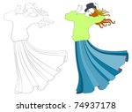 girl in a long skirt in the wind | Shutterstock . vector #74937178
