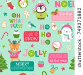 cute christmas character and... | Shutterstock .eps vector #749371882