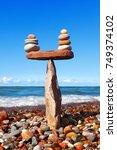rock zen in the form of a... | Shutterstock . vector #749374102
