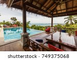 veranda private swimming pool... | Shutterstock . vector #749375068