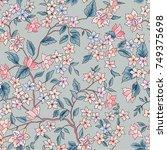floral seamless pattern. flower ... | Shutterstock .eps vector #749375698