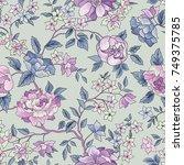 floral seamless pattern. flower ... | Shutterstock .eps vector #749375785