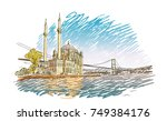 vector colored sketch of famous ... | Shutterstock .eps vector #749384176