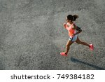 top view of sporty young fit... | Shutterstock . vector #749384182