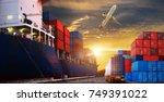 logistics and transportation of ... | Shutterstock . vector #749391022