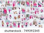 collage children winter photo....   Shutterstock . vector #749392345