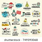 christmas hand drawn tags ... | Shutterstock .eps vector #749393068
